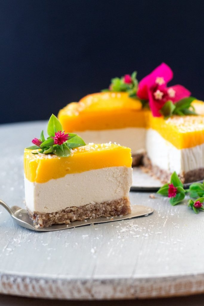 vegan birthday mango cake
