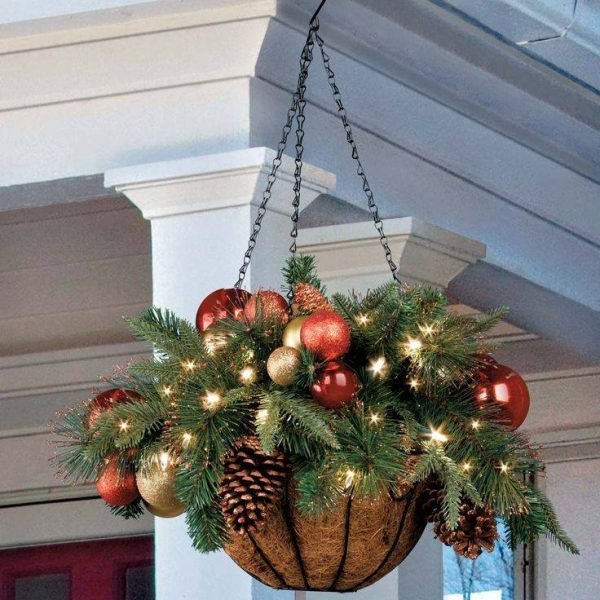Christmas outside hanging planter