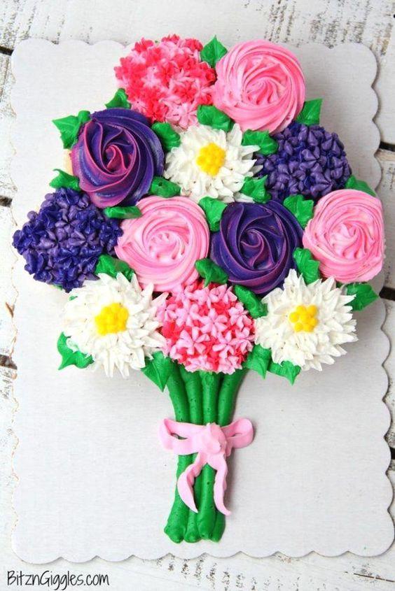 Flower boquet pull apart cake