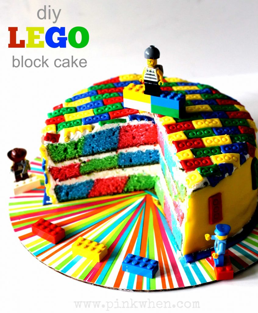 Lego block birthday cake for boys