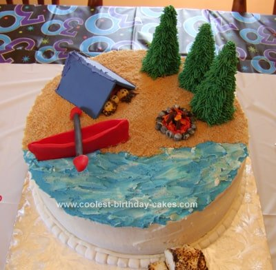 Beach Camping cake for boys