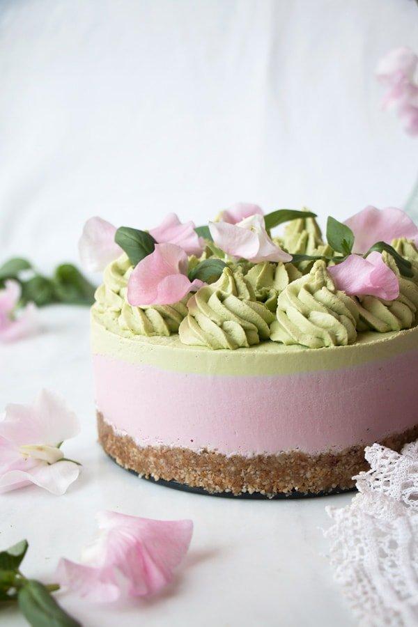 Strawberry Basil Vegan Cheesecake