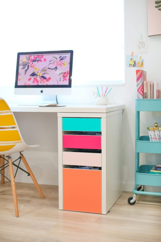 Ikea desk hacks no color drawers