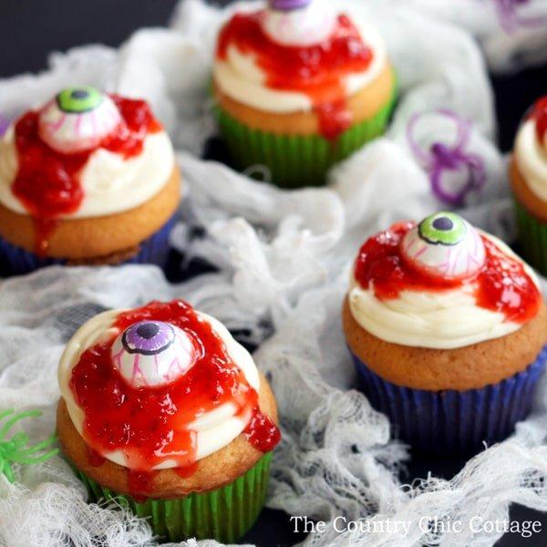 bloody eye cupcakes
