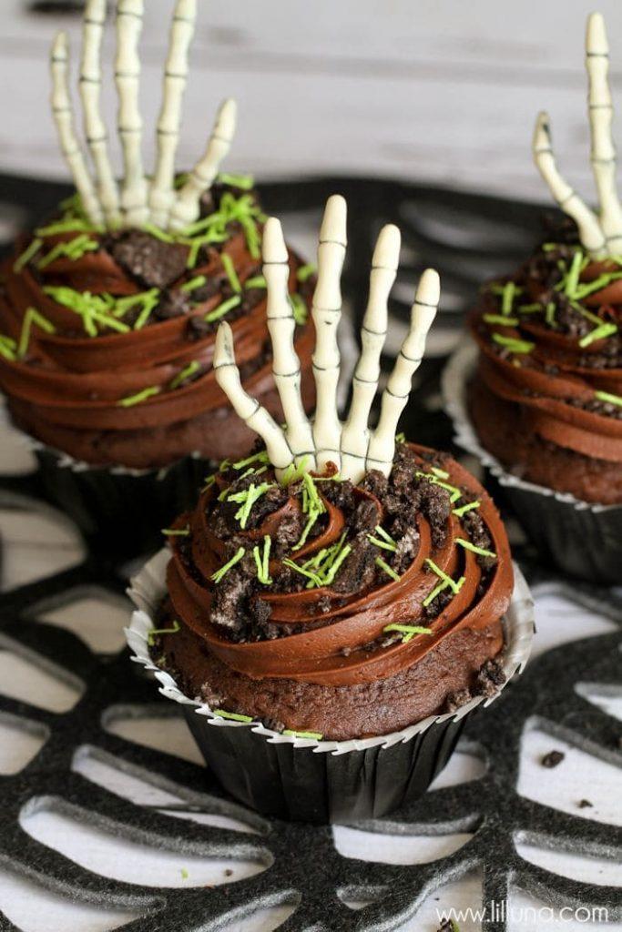 Skeleton hand cupcakes