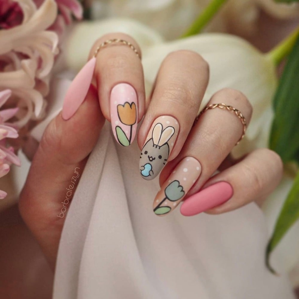 Bunny-and-Flower-Nail-design