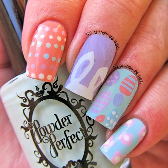 Easter dots nail art
