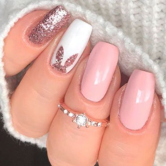 Elegant Glitter Bunny Nail Art