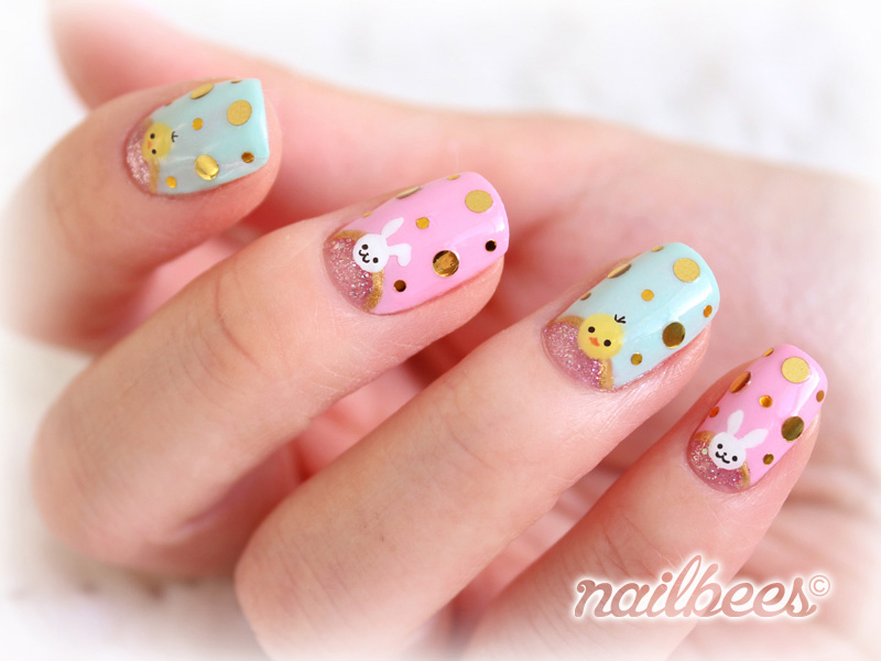 Funny-Easter-Gold-Spangle-Easter-Nails