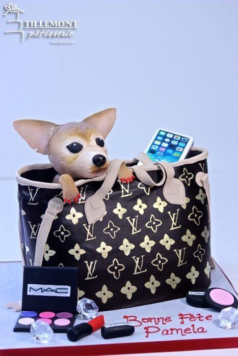 puppy in a purse cake