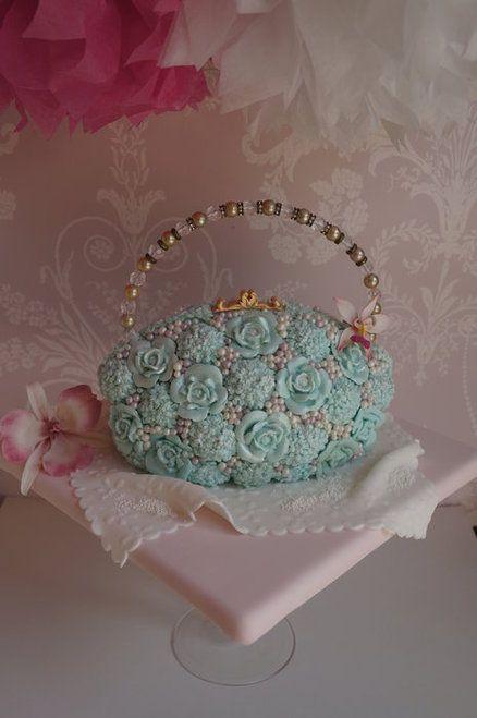 pearl studded handbag cake